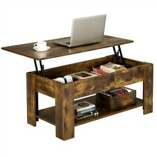 Modern Lift Top Coffee Table w/Hidden Storage & Shelf For Living Room Reception