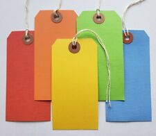 """100 Tags 4 3/4"""" x 2 3/8"""" Size 5 Large Colored Shipping Hang with String Strung"""