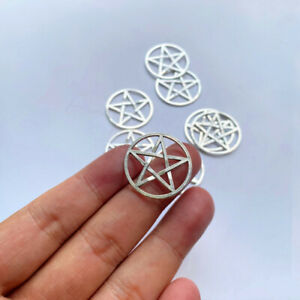 10pcs 25x25mm Pentagram Charms Antique Silver Tone Making Jewelry