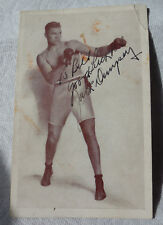 Jack Dempsey Signed New York Restaurant Postcard