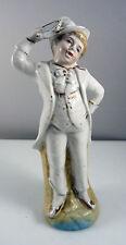 Antico 19th secolo porcellana figura di Musicista Suonatore di tamburello in Top Hat