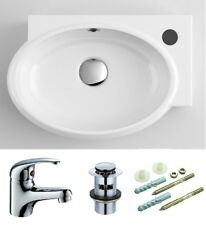 Small Compact Oval Corner Bathroom Cloakroom Basin Sink Wall Hung + Tap + Waste