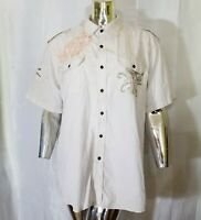 Irreverent Mens Ivory Brown Striped Button Up Short Sleeve Shirt Large