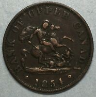 1854 Bank Of Upper Canada One Half Penny Token #SS730