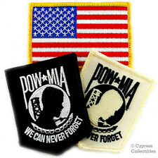 LOT OF 3 MILITARY BIKER PATCH - POW/MIA Vietnam USA Flag embroidered iron-on NEW