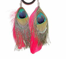 REAL FEATHER EARRINGS - PEACOCK & RED