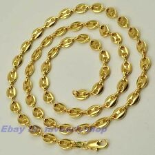 """23.6"""" 6mm 22g PUFFED MARINER CHAIN REAL 18K YELLOW GOLD PLATED NECKLACE GEP f16"""