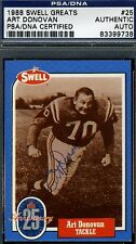 ART DONOVAN SIGNED PSA/DNA CERTED 1988 SWELL GREATS FOOTALL AUTOGRAPH
