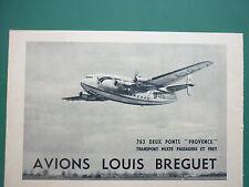 1954 PUB AVION BREGUET 763 DEUX PONTS PROVENCE AIR FRANCE AIRLINE ORIGINAL AD