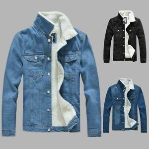 Mens denim winter thick fur lined jacket coat fleece denim Jacket outwear