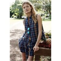 Madewell Women's Button Down Shirt Blue Size XXS Moment Top Madras Plaid H9