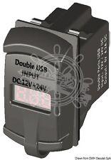 Doble/Dual USB Digital 12V/24V Puerto Enchufe + Voltímetro actual. barco Marina