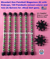 BLOW DART GUN PAINTBALL MAGAZINES (6) W/ END CAPS, 2 QUIVERS, AND 120 PAINTBALLS