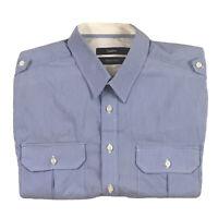 Calibre Mens Italian Fabric Button Up Long Sleeve Slim Blue Stripe Shirt Size S