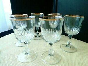 6 Verres à vin en verre  Filet or au buvant