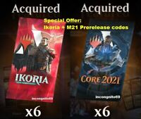 MAGIC MTG Arena Code: 6 Boosters. Ikoria + Core Set 2021 M21 Prerelease by EMAIL