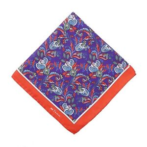 Kiton Purple and Red Intricate Floral Print Silk Pocket Square