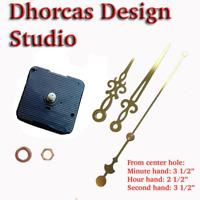 "(#07G) Quartz Clock movement kit 1/4"",1/2"",3/4"",1"" thread motor & Gold 3.5"" hand"