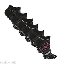 6 Pairs AT23 Ladies Soft Top Cotton Trainer Socks Pink/Black Stripe Size 4-8