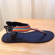 African-Arena  Masai Handcrafted Leather Sandals Colorful Mix Beads Size 42 AA27