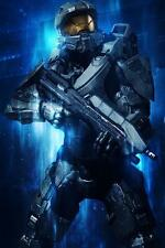"20x13""Silk Fabric Cloth Wall Poster Print Halo 4 5 Master Chief FPS"