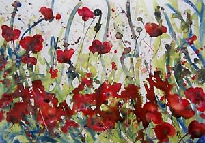 Semi Abstract Wild Poppies, Floral / Landscape Art. Original Gouache Painting.