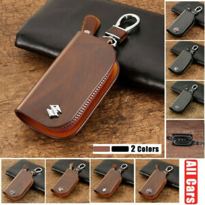 2 Colors Wood Grain Leather Cover Auto Car Remote Key Fob Case Bag for All Cars