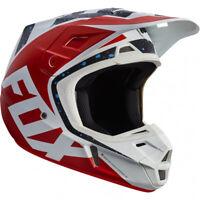 Fox V2 Nirv MOTOCROSS MX Casque - Rouge/BLANC ENDURO MOTO VTT BMX