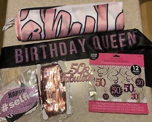 50th Birthday Decorations in Pink & Black ~ Sash, Banner, Photo Props, Swirls +
