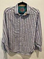 Robert Graham Men's MultiColor Stripe Long Sleeve Button Down Shirt Size 2XL XXL