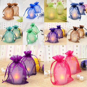 25/50pcs Sheer Organza Jewelry Pouch Drawstring Candy Bags Gift Pouches Wedding