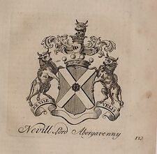 1779 ANTIQUE PRINT ~ NEVILL ~ FAMILY CREST COAT OF ARMS LORD ABERGAVENNY