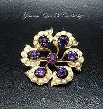 14K Gold Amethyst and Seed pearl Brooch 2.8cm 5.3g