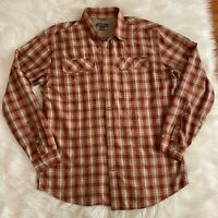 Eddie Bauer Button Down Casual Shirt Men's Tall Large Plaid Long Sleeve Pockets