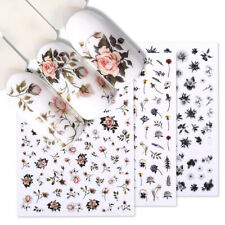 3D Nail Stickers Self-Adhesive Rose Flower Leaf Nail Transfer Decals Decoration