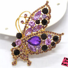 Betsey Johnson Charm Brooch Pin Gifts New Shine Purple Bute Butterfly Crystal