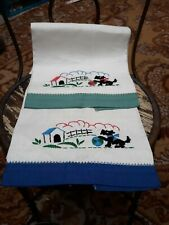 2 Vintage Linen Blue Green White Guest Towels Embroidered Scottie Dog House Ball