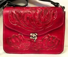 Leather Hand Tooled Red Handbag 100% Mexican Latigo Import Shoulder Purse