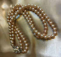 VINTAGE Double Strand Faux Pearl Necklace Rhinestone Clasp PROP DISPLAY #3