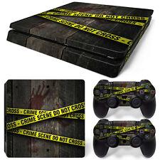 Sony PS4 Playstation 4 Slim Skin Aufkleber Schutzfolie Set - Crime Scene Motiv