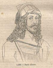 A0543 Alberto Durer - Stampa Antica del 1858 - Xilografia