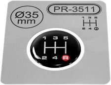Gear Knob Shift Pattern Lever R-Red Stickers 3D Domed emblem badge 5 Speed ∅=35