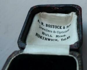 ANTIQUE RING BOX A.R.BOSTOCK BULL RING NORTHWICH JEWELLERS+OPTICIANS
