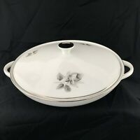 HUTSCHENREUTHER Bavaria china GRAY ROSE pattern TUREEN / VEGETABLE DISH LIDDED