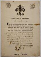 Firenze 1819 documento atto di morte della Comunità di Firenze