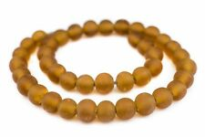 Amber Frosted Sea Glass Beads 14mm Orange Round Large Hole 24 Inch Strand