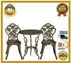 Bistro Patio Outdoor Garden 3 Psc Set Furniture Table And 2 Metal Chairs Bronze