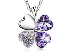 Fashion Womens Heart Purple Crystal Rhinestone Silver Chain Pendant Necklace HOT