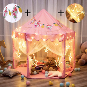 Pink Princess Castle Play Tent Girls Playhouse With Star Lights LEDs And Banner