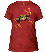 The Mountain Women's Green Frog Apparel T-Shirt Tee Top, Red Small